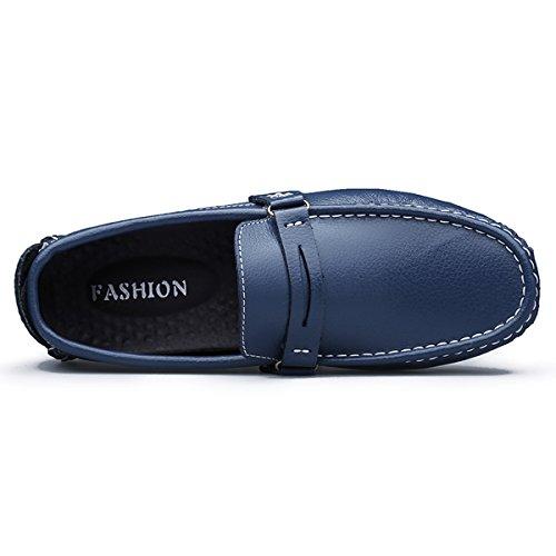 Kingdom Mall Slip Mens Cuir Mocassins Chaussures De Voiture Au Volant Bleu
