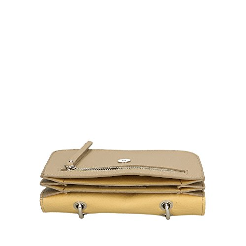 Chicca Borse Clutch Borsetta a Mano in Vera Pelle Made in italy - 23x17x7 Cm Taupe