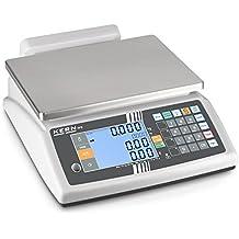 Balanza comercial [Kern RFE 30K3M] Balanza de porciones compacta con 2 pantallas XXL - peso, precio básico y de venta y TARA de una ojeada, Campo de pesaje ...