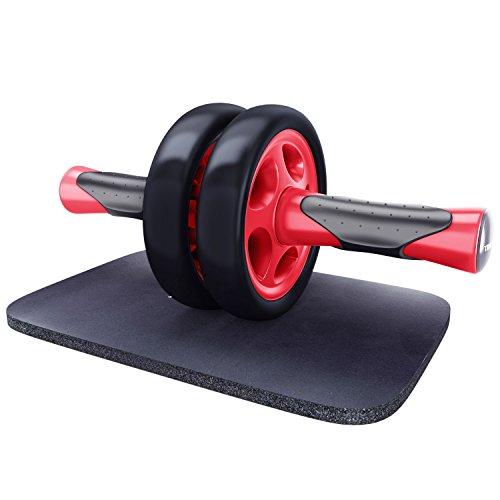KYLIN SPORT Roue Abdominale AB Wheel Roller Pro de Fitness et Musculation de Corp-Appareil Abdominal Munit d'Un Tapis Epais pour Genoux (rouge noir)