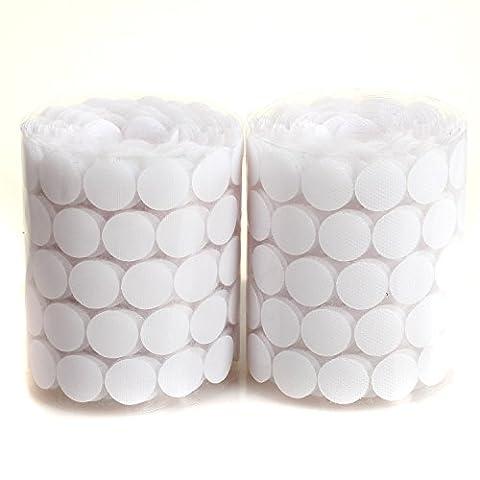 HIMRY 1000 Capsules (500 paires) 2cm Diamètre, Dos adhésif pièces Crochet & Boucle Ruban adhésif à pois, Monnaies Hook & Tapes boucle adhésif, points dots coins, blanc, KXB5026-white