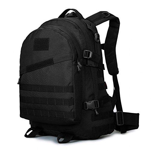 Huntvp Taktisch Rucksack Wasserdicht Wanderrucksäcke Large Backpack Unisex Laptop Schultasche Multi Daypack Molle Assault Bag Outdoor Angriff Pack für Camping Reisen Trekking 45L Schwarz