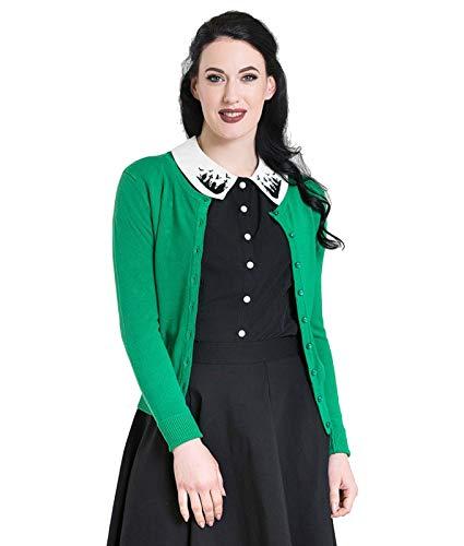 Hell Bunny Debbie 50s Jahre Style Rockabilly Strickjacke - Grün, UK 22 (4XL)