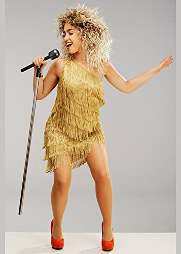Magic Box Int. Womens 80er Jahre Tina Turner Style Kostüm mit Perücke XL (UK - Tina Turner Fancy Dress Kostüm