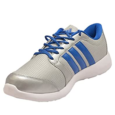 adidas Men's Altros Metallic Silver and Blue Mesh Running Shoes - 11 UK