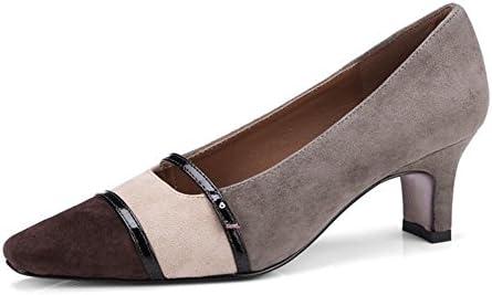 NVXIE Mujer Puntiagudo Dedo del pie Medio Fornido Tacón Ante Zapatillas Soltero Corte Zapatos Gris Primavera Verano...