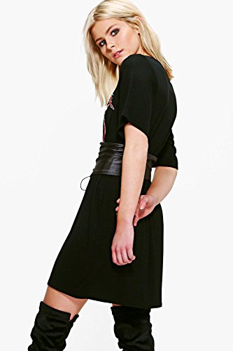 Multi Damen Neve Übergroßes 2-in-1-Korsagen-T-Shirt-Kleid mit Band-Print Multi