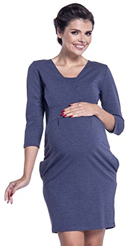 Zeta Ville - Stillzeit Sweatshirt Kleid Schwangere V-Ausschnitt - Damen - 055c Jeans Melange