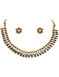 JFL - Traditional Ethnic One Gram Gold Plated Cz American Diamond Pearl Designer Necklace Set For Women And Girls