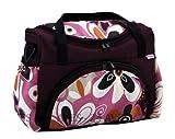 Wickeltasche Kinderwagentasche Pflaume + Blumen #14 mit Wickelunterlage