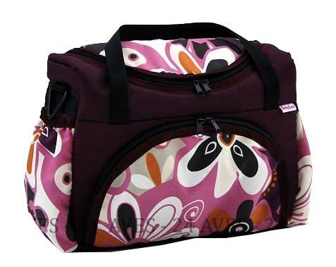 Preisvergleich Produktbild Wickeltasche Kinderwagentasche Pflaume + Blumen #14 mit Wickelunterlage