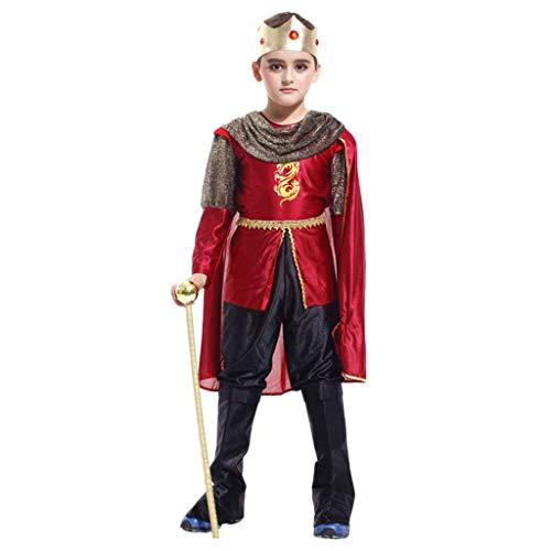Kind Königs Kostüm Krieger - QWEASZER Game of Thrones König Kostüm Kinder Jungen mittelalterlichen König Krieger Buch Tag Kostüm Outfit,King- L120~130 cm