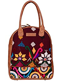Kalamargam Collective Vintage Kutch Handembroidery & Vegan Leather Women's Tote Bag (Multi-Coloured, KC-SB76)