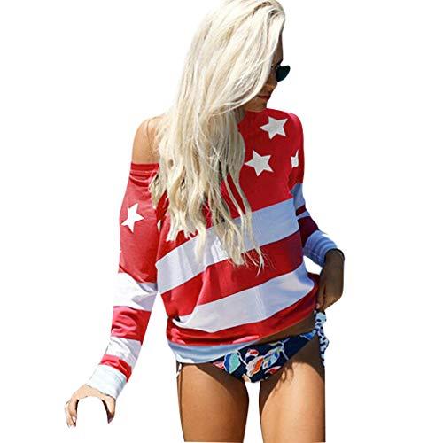 Junjie Frauen Sommer American Flag Print Casual Sommer Camis Tank langarmblusenshirt Langarmbluse damenfrauen Hohle Loch Tops Bluse Lose T-Shirt Blau, Rot