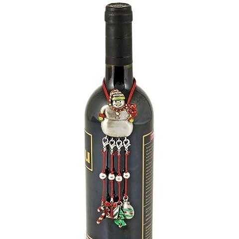 True Fabrications Pewter Snowman Wine Bottle Necklace with Charms by True Fabrications - Snowman Wine Glass