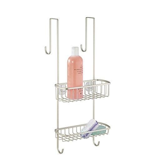 ensola mDesign da appendere alla porta del bagno/doccia, per shampoo, balsamo, sapone, Satiniert