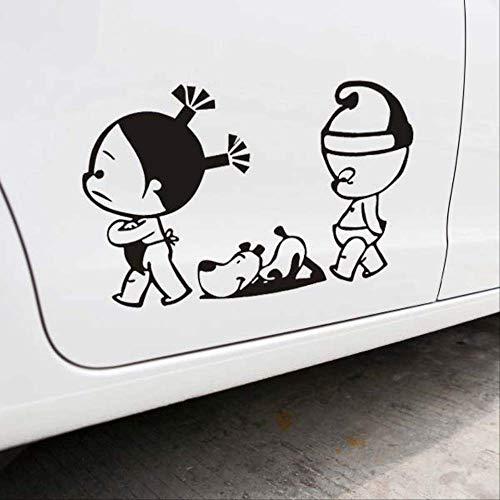 tonywu Car Sticker Dekal Kreative Persönlichkeit Persönlichkeit Ehepaar Paar Hund Einkaufstürder Aufkleber Zeichentrickfilm Reflektierende Autodekoration 41X27CM Eine 2PCS