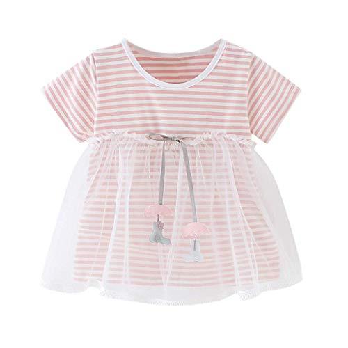 KIMODO Kleinkind Baby Mädchen Gestreifte Bedruckte Kleid Tüllkleid Urlaub Kurzarm Sommerkleid Prinzessin Partykleider