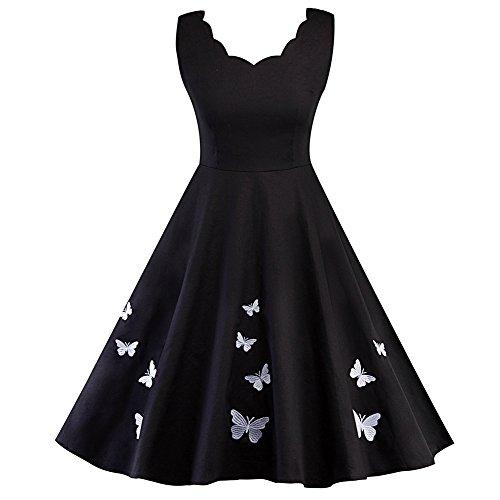 iShine Audrey Hepburn Kleid Damen V-Ausschnitt Rockabilly Kleid mit Schmetterling Faltenrock elegant Cocktailkleid Knielang-WT-M
