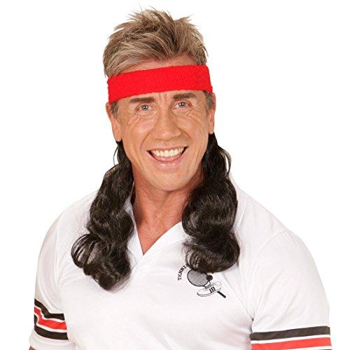 NET TOYS Postiche avec Bandeau Rouge Nuque Longue Noire Faux Cheveux Beauf Chevelure Bad Taste Party Déguisement Accessoire