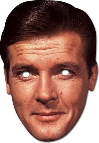 James Bond Doppelpack Roger Moore und Daniel Craig Style Partymaske aus Karton mit Augenlöchern