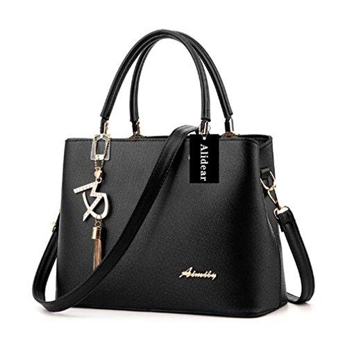 Alidier Neue Marke und Qualität Mode Damen Shopper Ledertaschen Handtaschen Umhängetasche Schultertasche Tote Bag Schwarz (Frauen Handtasche Neue)