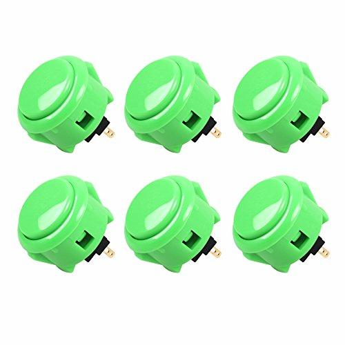 Sanwa 6x OBSF-30Botones OEM 30Millimetri Arcade pulsador (Mad CATZ SF4Torneo Joystick Compatible) Verde Verde