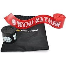Wod nación músculo Floss banda. 2unidades Bandas de Compresión para Tack y hilo dental en los musculos y aumento de la movilidad. Elástico Banda., 1 Black & 1 Red