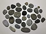 MEIERLE & Söhne 30 Flache Flusssteine Kiesel flach Flusskiesel aus den Alpen Kunst Flusssteine Dekosteine Bergkiesel flach Unikat Naturjuwel grau rot weiß schwarz zum Basteln Bemalen