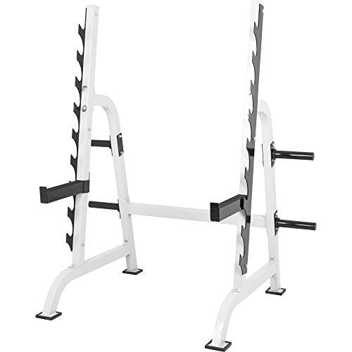 GORILLA SPORTS® Power Squat Rack Kniebeugen-Ständer Weiß – Hantelablage mit Hantelscheibenständer