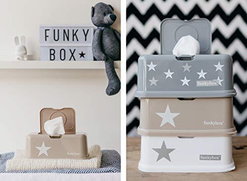 Funkybox graue Feuchttücherbox mit weißen und silbernen Sternen - 2