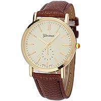 Oyedens–Unisex cinturino in pelle analogico al quarzo Vogue Orologio da polso orologi marrone