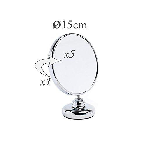 Miroir grossissant double face rond X5 chromé 15cm