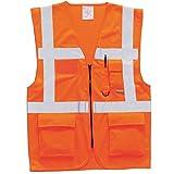 Profi Warnweste Weste Warnschutzweste - EN ISO 20471 Klasse 1 / 2:2 Orange L