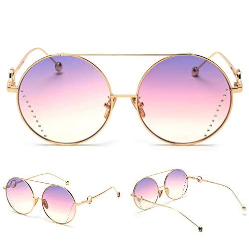 MINGMOU Neue Damen Designer Strass SonnenbrilleÜbergroße Frauen Runde Sonnenbrille FürFrauen VerlaufsglasMetallrahmen