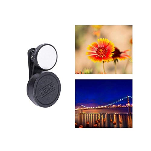 Eulan 2 in 1 Mobile Phone Lens Kit, for Selfie Live Telecast Flower Shaped Wide Angle and Micro Fill in Light and Lens Combination (Black) -