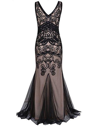 Kayamiya Damen 1920er Maxi Lange Meerjungfrau Formelle Gatsby Flapper Abendkleid Schwarz Beige