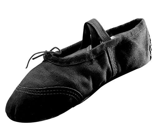Panegy Mädchen Ballettschuhe Schläppchen Canvas Tanzschuhe Ballett Mädchenschuhe-Schwarz