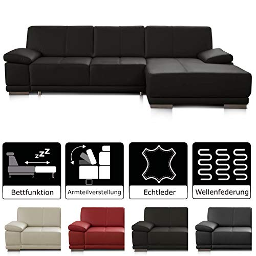 CAVADORE Schlafsofa Corianne mit Longchair rechts / Ledercouch in modernem Design / Inkl. beidseitiger Armteilverstellung / 282 x 80 x 162 / Echtleder dunkelbraun