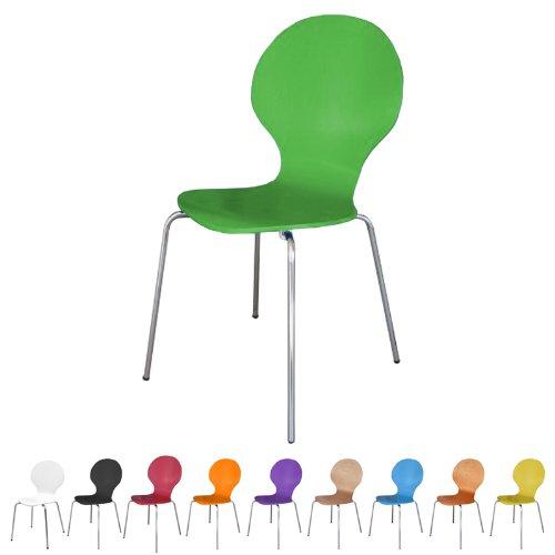 Produktabbildung von Stuhl stapelbar Design Klassiker Metall Holz - sehr belastbar - Grün