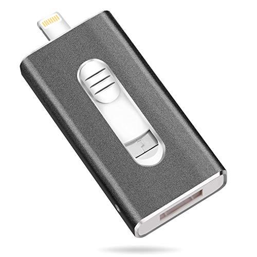 Wolongshiji USB-Stick 64 GB Speichererweiterung USB Speicherstick kompatibel für iPhone, iPad, Computer, Mac, Laptop, PC (schwarz) Mpg, Ipod Video
