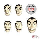 5x Maske Kostüm Haus des Geldes Verkleidung casa del papel Bella Ciao Haus für Herren, Damen Erwachsene mit Maske bekannt aus Haus des Geldes - Fasching, Karneval, Halloween (5x Maske)