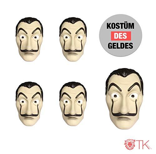 5x Maske Kostüm Haus des Geldes Verkleidung casa del papel Bella Ciao Haus für Herren, Damen Erwachsene mit Maske bekannt aus Haus des Geldes - Fasching, Karneval, Halloween (5x Maske) (Et Kostüm Maske)