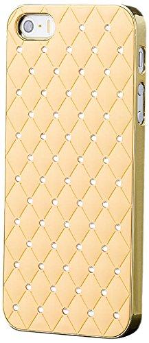 iCues - Apple iPhone SE / 5S / 5 - Cas strass   Chrome Or / Jaune - [Protecteur d'écran inclus] Glitter Glitter Strass luxe bling dames femmes filles cas Chrome peau Couvercle de protection Couvercle  Or / Beige
