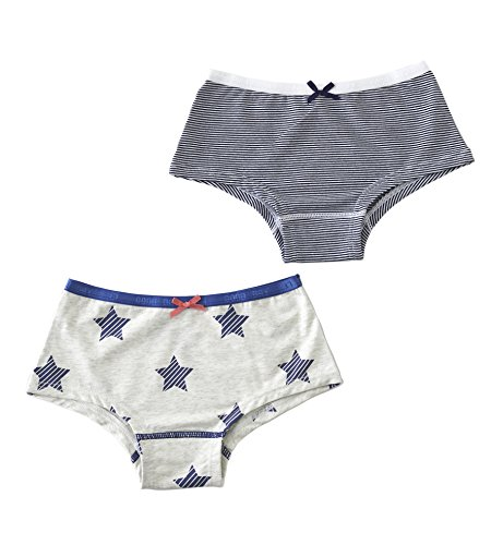 Mädchen Hipster Slips (2er Pack) / size 2Y / 86-92 small navy blue stripes & off white melee with blue striped stars