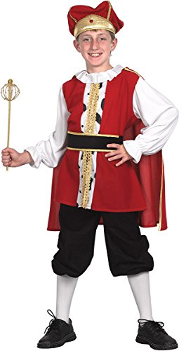Bristol Novelty Kostüm, König, Mittelalter, für Weihnachten, Partys, Tudor-Stil, für Jungen, komplettes Outfit Gr. Medium, multi