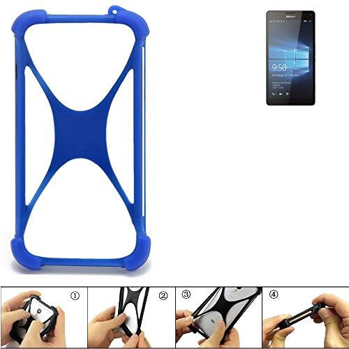 K-S-Trade Handyhülle Microsoft Lumia 950 XL Dual SIM Silikon Schutz Hülle Cover Case Bumper Silikoncase TPU Softcase Schutzhülle Smartphone Stoßschutz, blau (1x)