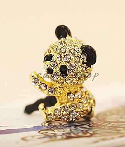 Handyschmuck, Panda, Goldfarben, Strass, bling bling, für alle Geräte mit 3,5 mm Stecker, Dust Plug wadle-shop Strass-panda