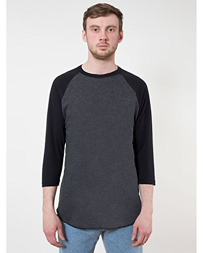 sex Poly-Cotton 3/4 Sleeve Raglan Shirt - Heather Black / Black / XXL ()