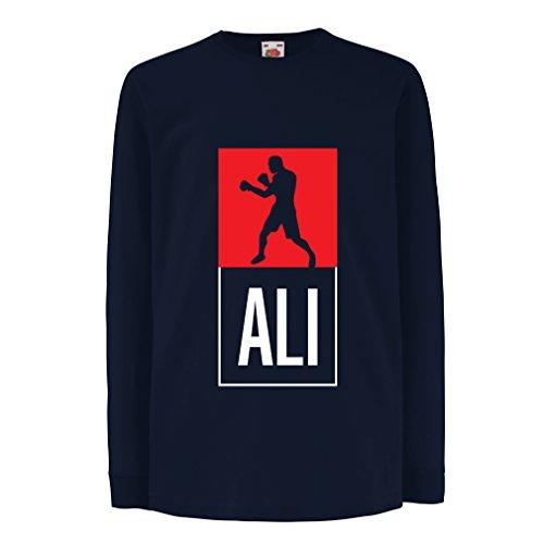 Kinder-T-Shirt mit Langen Ärmeln Boxing - in Fight Style Für Training, Sport, Übung, Laufen, Fitness Kleidung (12-13 Years Blau Mehrfarben)